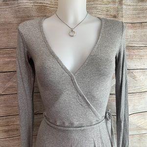 Grey Long Sleeve Faux Wrap Dress size 4 - H-28